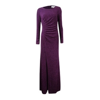 Calvin Klein Women\u0027s Glitter Ruched Front-Slit Gown - Aubergine (2 options  available)