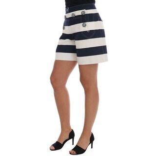 Dolce & Gabbana White Blue Striped Crystal Shorts - it42-m
