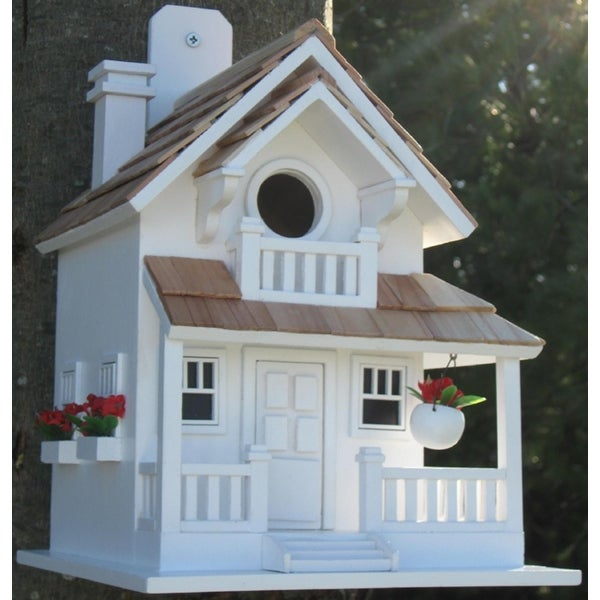 """11"""" Fully Functional White Courtyard Cottage Outdoor Garden Birdhouse - N/A"""