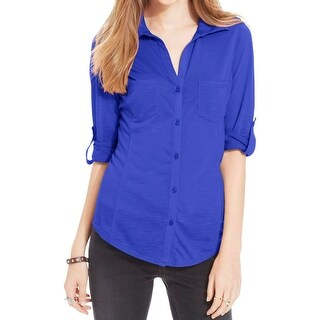 Almost Famous Womens Juniors Casual Top Button-Front Adjustable Sleeves