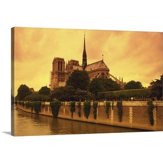 """""""Image of the Notre Dame and the Seine Next to It By Sunset, Paris, France"""" Canvas Wall Art"""
