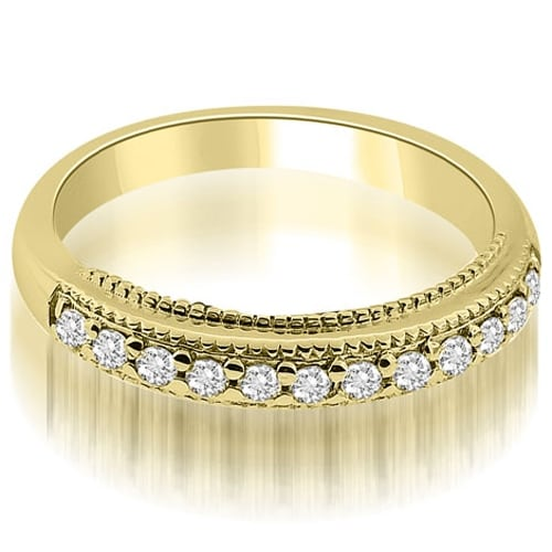 0.20 cttw. 14K Yellow Gold Round Cut Milgrain Diamond Wedding Ring