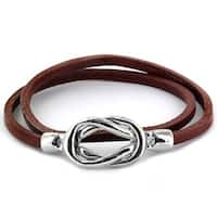Steel Knot Double Wrap Leather Bracelet (Brown) (4 mm) - 8 in