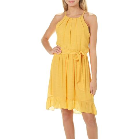 7a3e1045553 BCX Yellow Size Large L Junior s Cotton Tie Waist A-Line Dress
