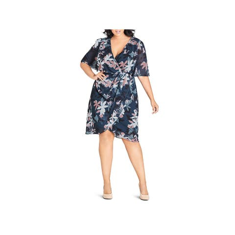 City Chic Womens Plus Wrap Dress Floral Daytime