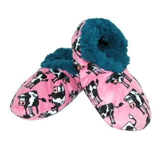 Lazy One Women's Moooody In The Morning Cow Print Fuzzy Feet Slippers - s/m (4-6)
