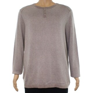 Alfani Beige Heather Mens Size Small S Pullover Henley Sweater