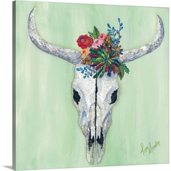 """Floral Bull Skull"" Canvas Wall Art"