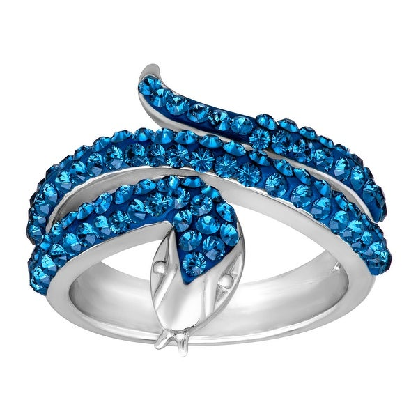 Crystaluxe Snake Ring with Swarovski Elements Crystals in Sterling Silver - Blue
