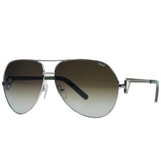 Chloe CE111/S 714 Silver/Green Aviator Sunglasses