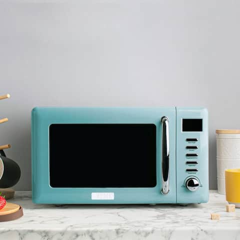 Haden Heritage 700-Watt .7 cubic. foot Microwave with Settings and Timer in Light Blue Turquoise