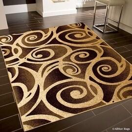 "Allstar Brown / Beige Woven Hand Carved Evolution Swirl Design Area Rug (3' 9"" x 5' 1"")"
