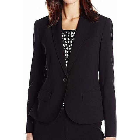 Anne Klein Womens Blazers Black Size 0 Stretch Notched-Lapel Solid