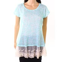Moa Moa Mint Womens Small Embroidered-Mesh Knit Top
