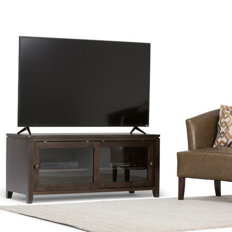 WYNDENHALL Essex SOLID WOOD 48 inch Wide Contemporary TV Media Stand For TVs up to 50 inches - 48'' x 17.5'' x 21