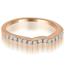 0.24 cttw. 14K Rose Gold Curved Round Cut Diamond Wedding Ring