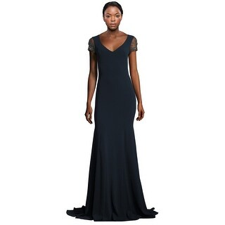 Theia Jewel Embroidered Tulle Cap Sleeve Evening Gown Dress