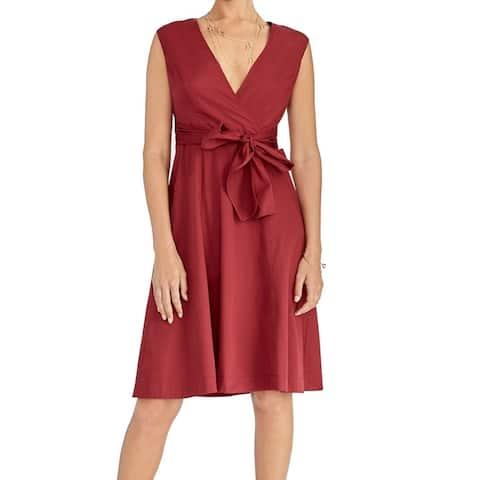 Rachel Roy Women's Dress Cherry Red Size 8 A-Line Belted Surplice