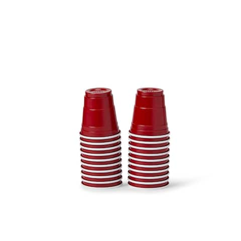 20 Pack Shot Glasses - 1.5 oz Acrylic Party Cup - Red Plastic Shot Glass - Multi