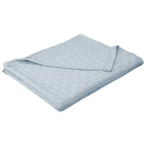 Basketweave Thin Cotton Cozy Bed Blanket King Light Blue