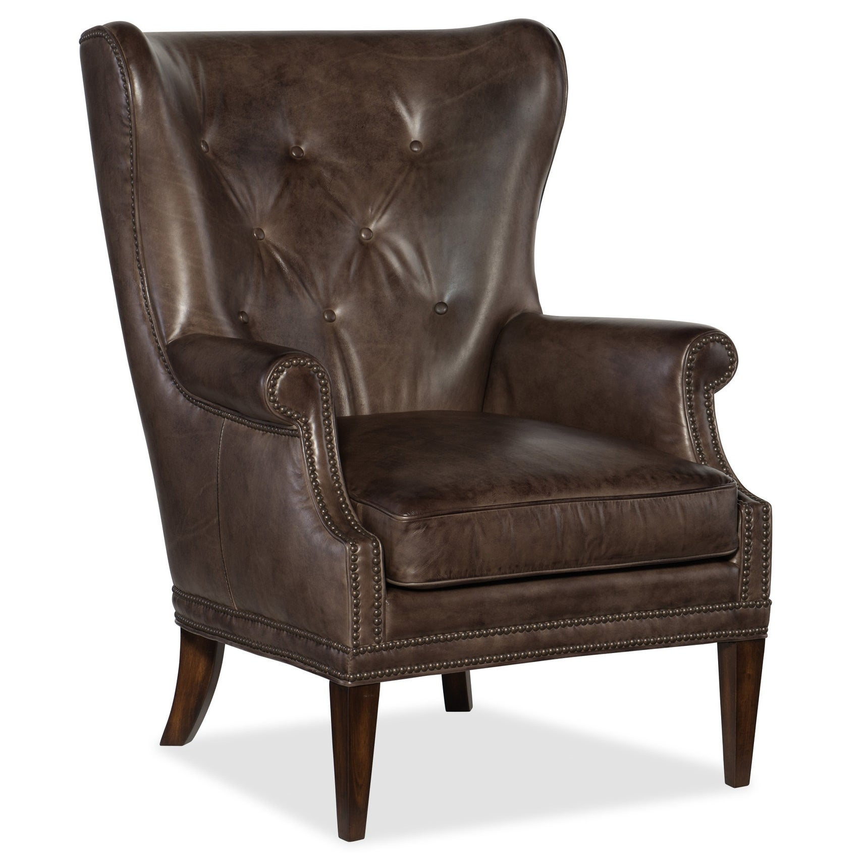 Hooker Furniture CC513-095  Maya 30 Wide Leather Accent Chair with Nailhead Trim - Checkmate Trade