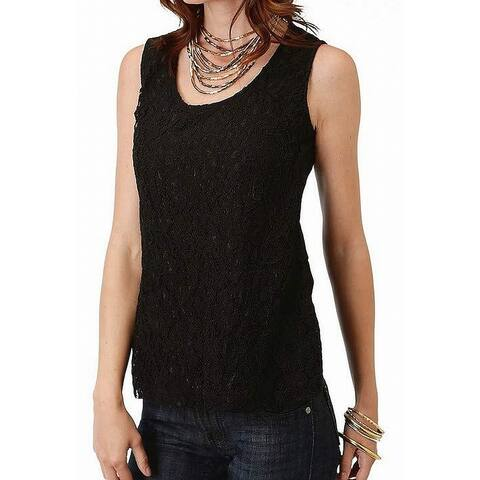 Roper Women's Blouse Black Size XS All Over Laced 1596 Scoop Neck Tank Cami