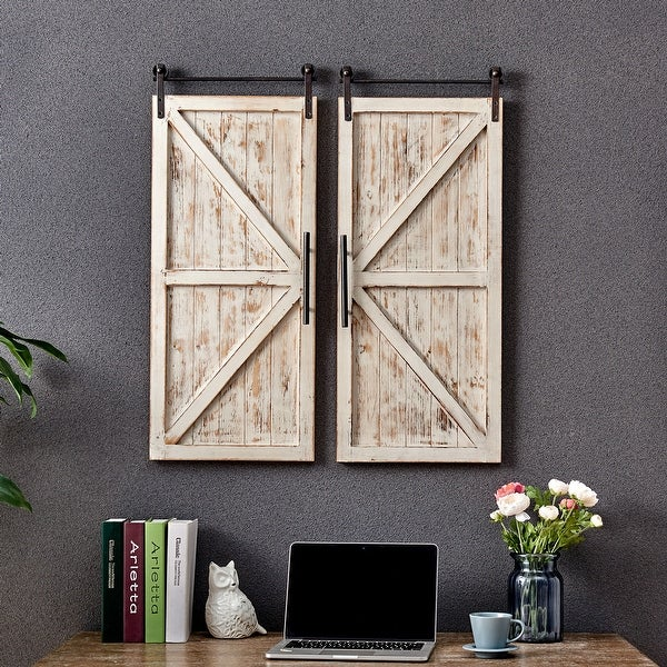 FirsTime & Co.® Carriage Farmhouse Barn Door Wall Plaque Set, Wood, 14 x 2 x 34 in, American Designed - 14 x 2 x 34 in. Opens flyout.