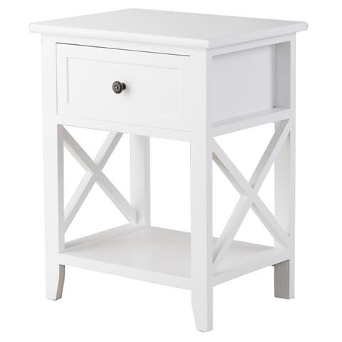 Costway End Bedside Table Nightstand Drawer Storage Room Decor W/Bottom Shelf White
