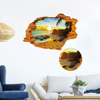"3D Broken Sunshine Beach Vinyl PVC Home Room Removable Decal 35.4""x23.6"""