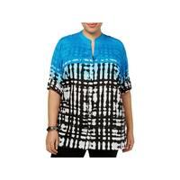 Calvin Klein Womens Plus Blouse Adjustable Sleeves Printed