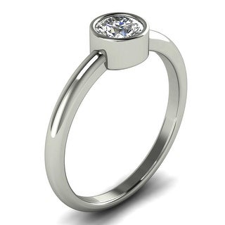 0 40 CT Classic Bezel Diamond Solitaire Engagement Ring In 14KT Gold