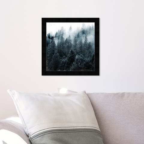 Oliver Gal 'Over The Pine' Nature and Landscape Wall Art Framed Print Forest Landscapes - Black, White