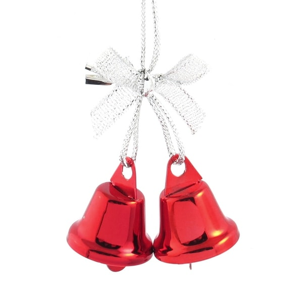 Unique Bargains Bow Detail Red 27mm Dia Christmas Tree Ring Bell Dangling Ornament