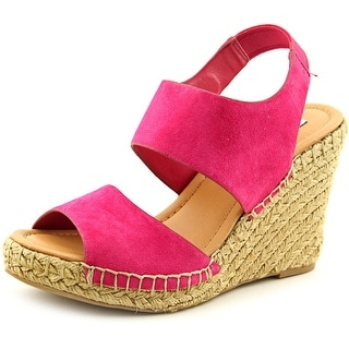 Steve Madden Scroll Women Open Toe Suede Pink Wedge Heel