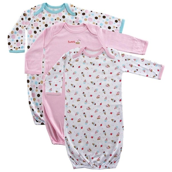 Luvable Friends Girls Sweet Gown 3-Pack - Pink - 0-6 months