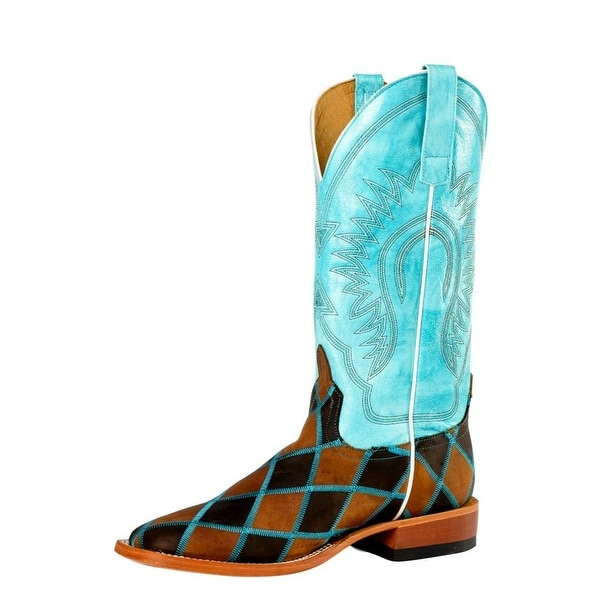 Horse Power Western Boots Mens Tough Leather Patchwork Brown