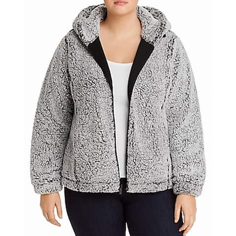 Marc York Womens Jacket Gray Combo Size 1X Plus Teddy Zip Hoodie
