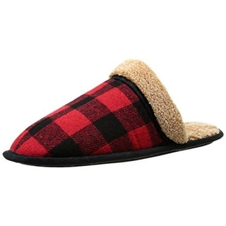 Dockers Mens Clog Slippers Flannel Faux Fur