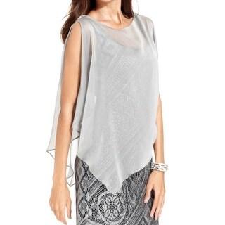 SLNY Womens Poncho Sleeveless Embellished Blouse