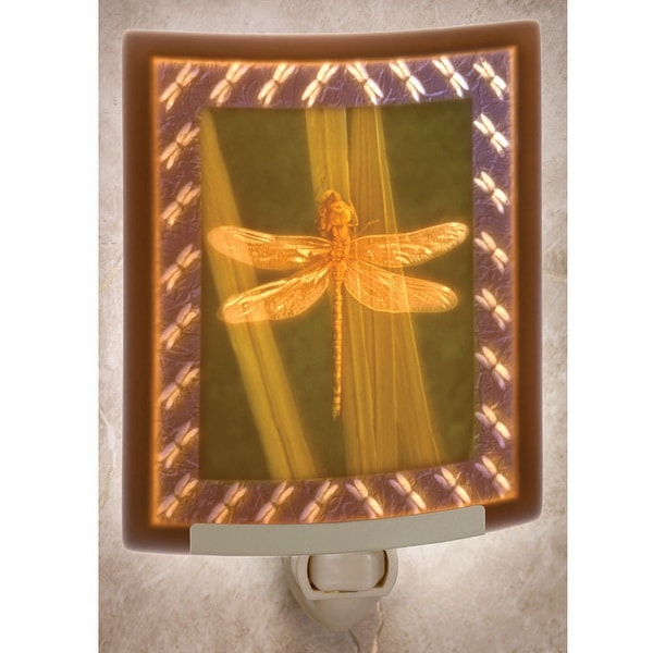 Dragonfly Hand-Painted Porcelain Night Light - multi