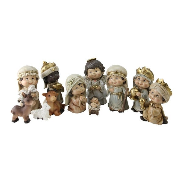 11 Piece Inspirational Christmas Nativity Figure Set with Gold Colored Accents 4.5""