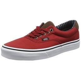 Vans Mens Era 59 (C&P) Skate Shoes (12 US Women/10.5 US Men, Red Dahlia/White)