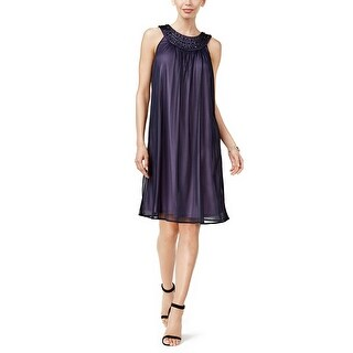 Jessica Howard Embellished Shift Dress Purple