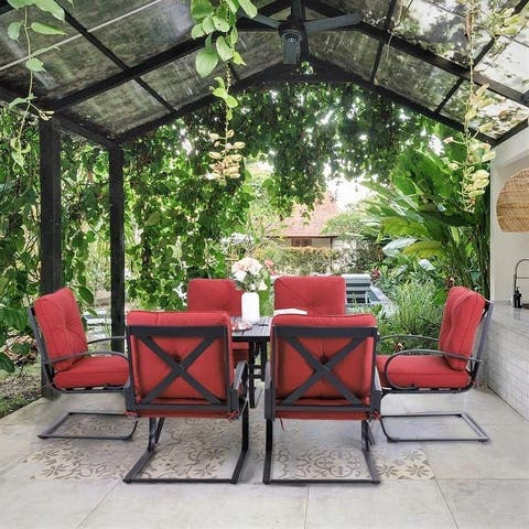 """PHI VILLA Patio Dining Set 7-Piece Metal Outdoor Table Furniture Set with 2.6"""" Umbrella Hole and 6 Spring Motion Chairs"""