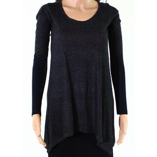 Go Couture Womens Small Speckle Scoop-Neck Knit Top