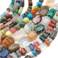 Gemstone Bead Lot Mix 2 Assorted Shapes, Sizes, Colors 70 Inches Total