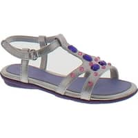 Jumping Jacks Crystal Ankle-Strap Sandal - Silver Metallic