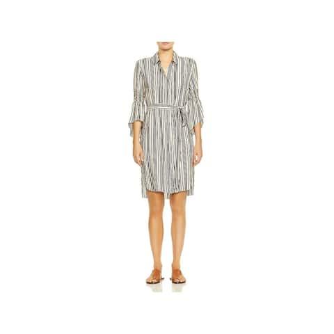 Halston Heritage Womens Shirtdress Bell Sleeves Daytime - Buff/Black