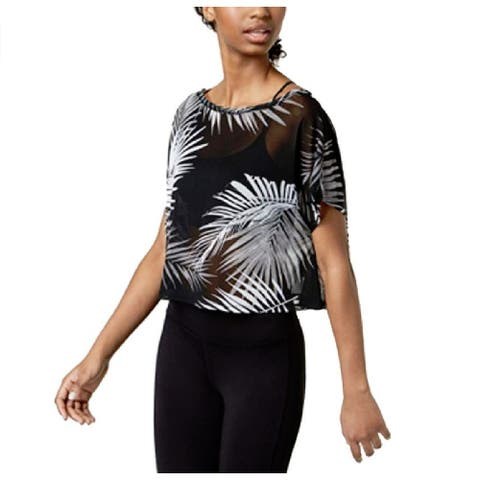 Material Girl Juniors Printed Active Top Palm Black Combo Size Medium