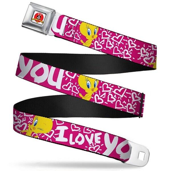 Looney Tunes Logo Full Color White Tweety Bird I Love You Fuchsia White Seatbelt Belt